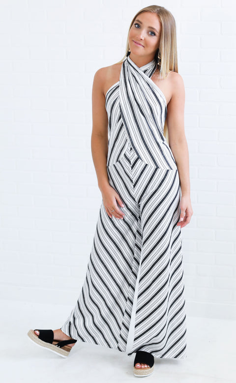 stripe you are woven jumpsuit