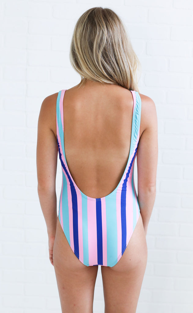 striped out one piece swimsuit