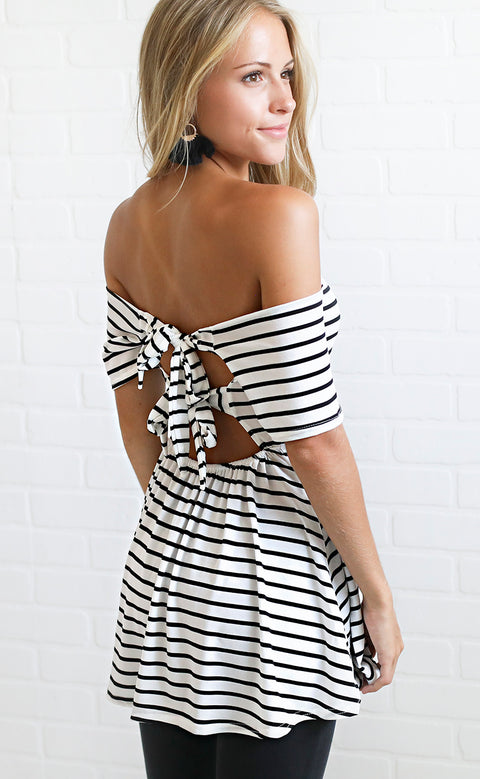 striped perfection off the shoulder top