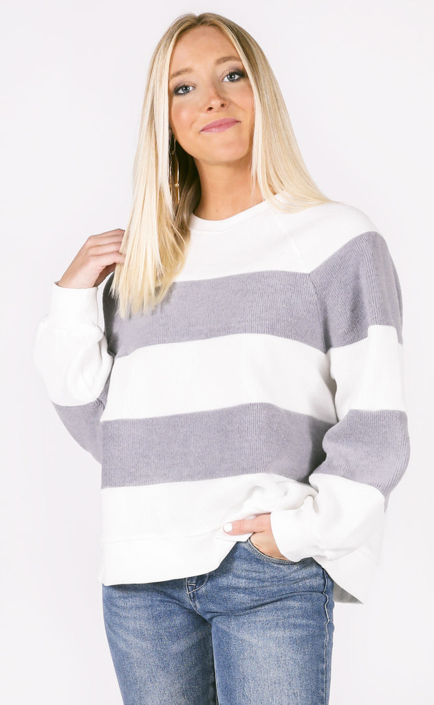 striped staple ribbed pullover