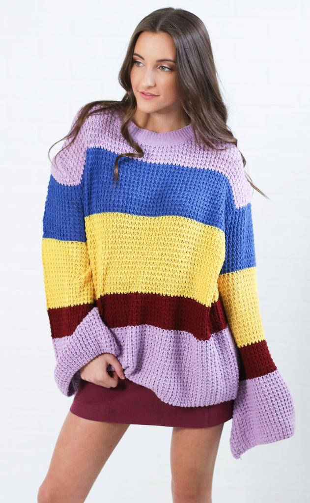 stripes on stripes knit sweater - lavender