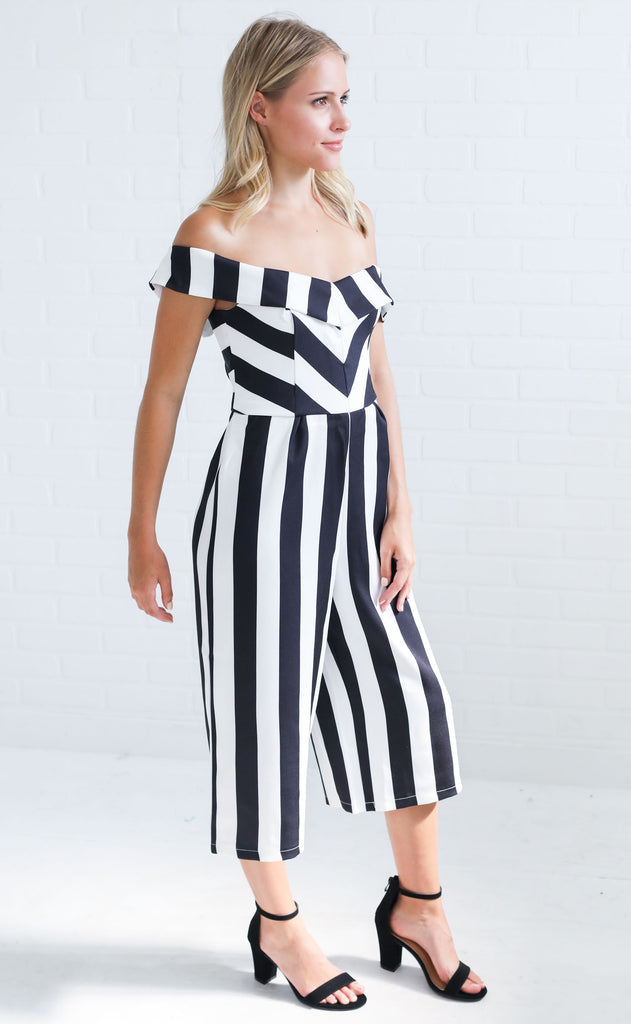 striping it up off the shoulder jumpsuit - black stripe
