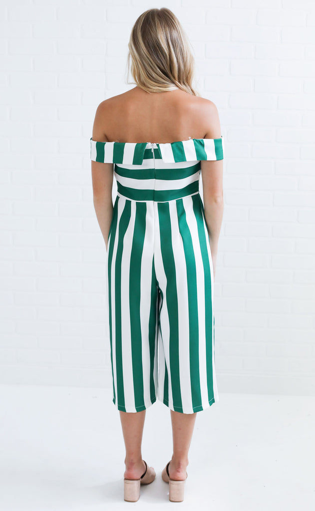 striping it up off the shoulder jumpsuit - green stripe