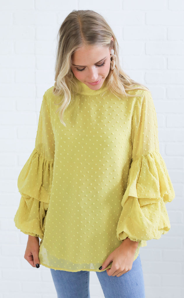 sugar rush ruffle top - mustard