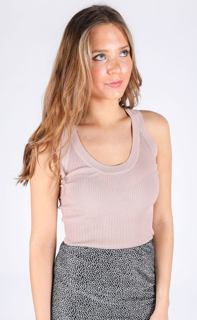 summer mode ribbed tank - beige