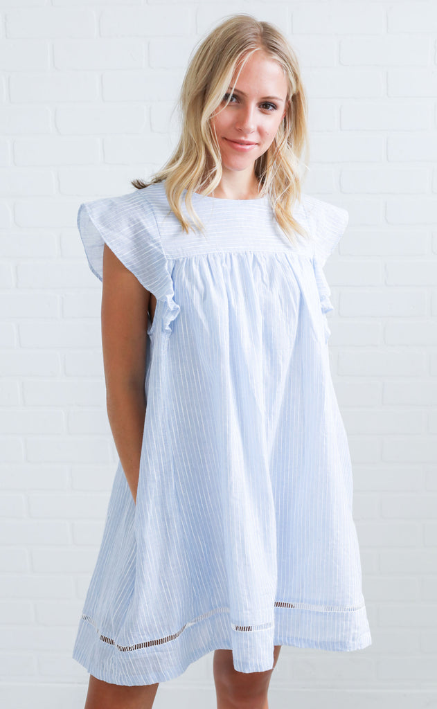 summer in the south striped dress - blue