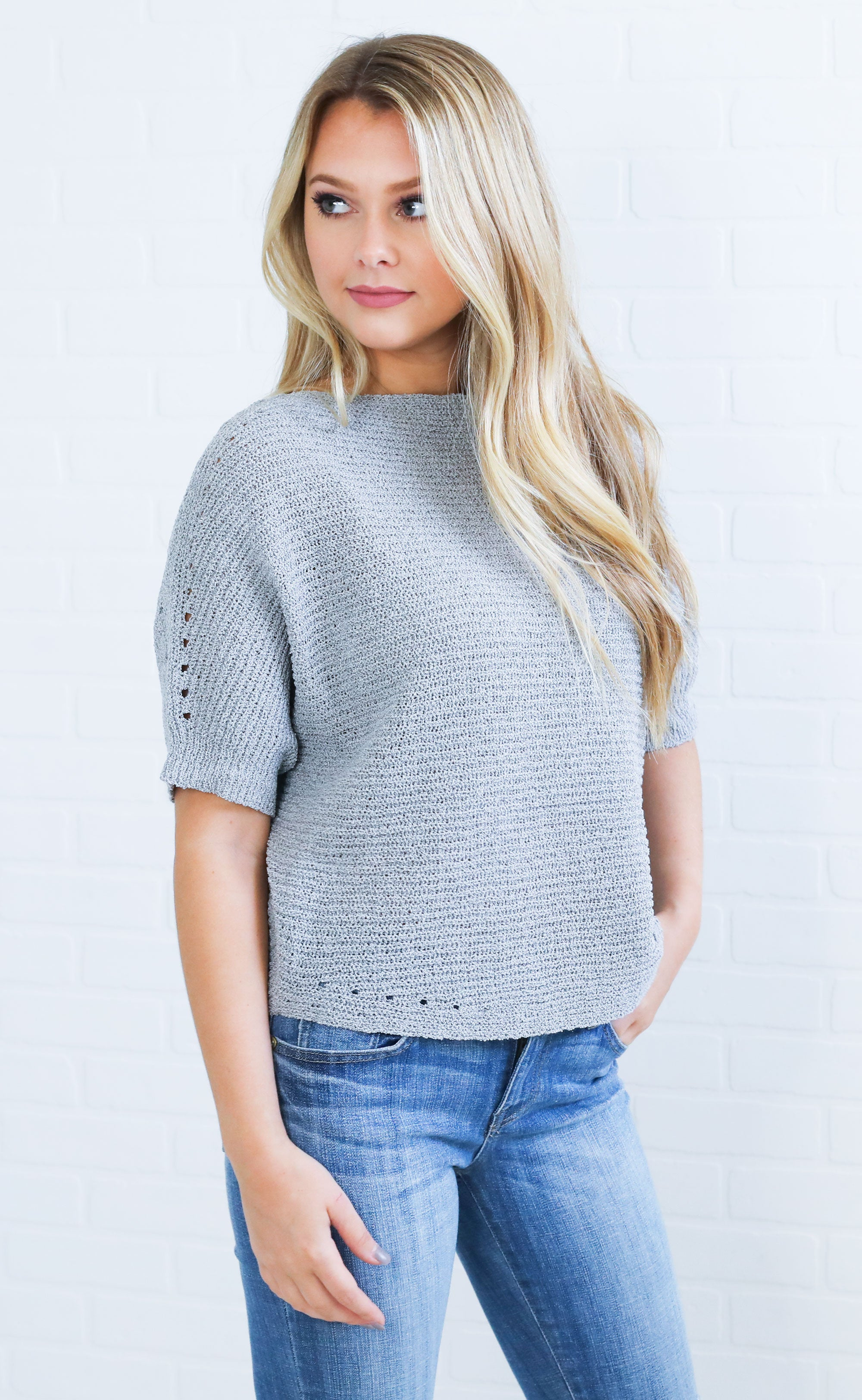 d9a4c65edb4 summer nights knit sweater - grey – ShopRiffraff.com