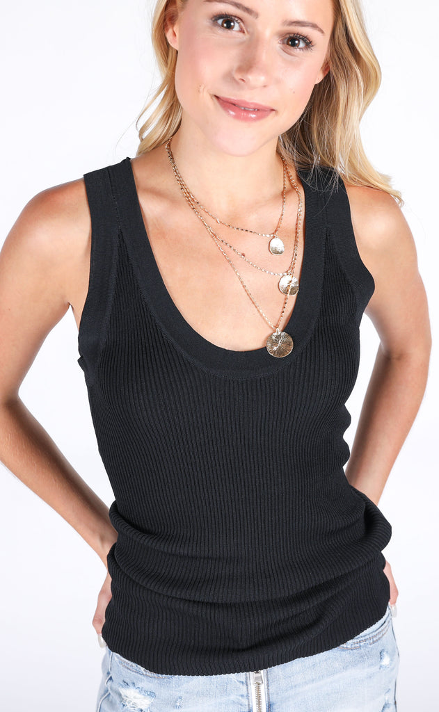 summer mode ribbed tank - black
