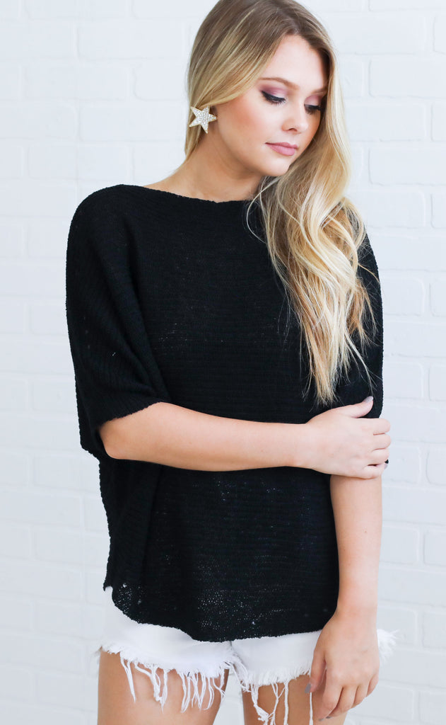 summer nights knit sweater - black