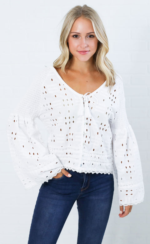 summer picnic eyelet top