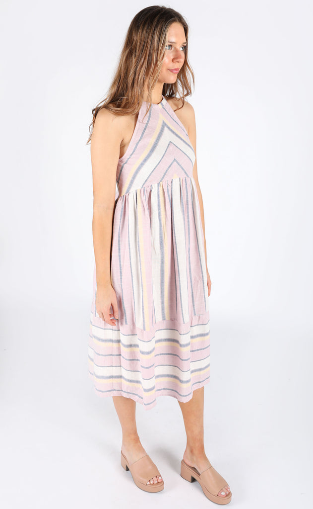 sunday best striped dress - lavender/yellow