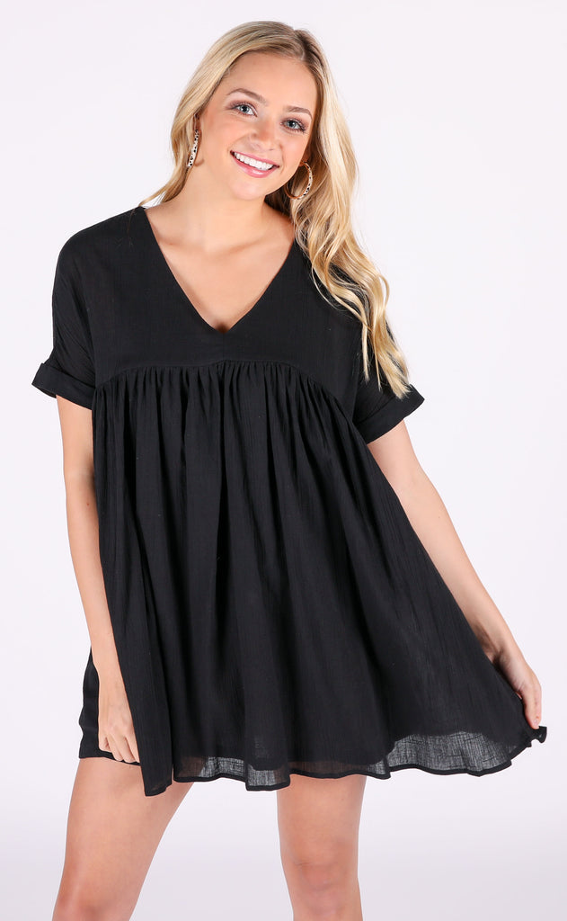 sunkissed babydoll dress - black