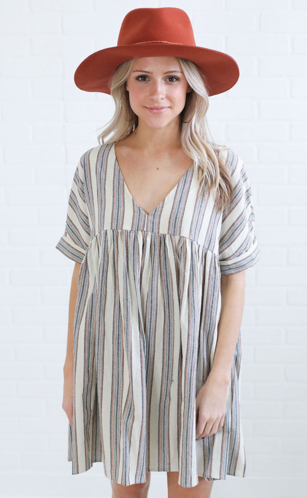 sunkissed babydoll dress - taupe stripe