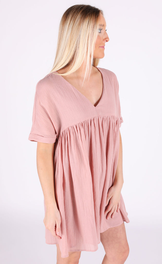 sunkissed babydoll dress - blush