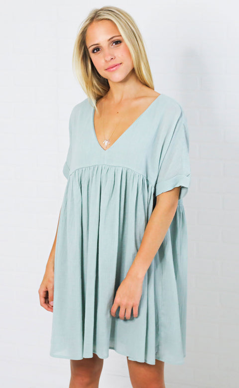sunkissed babydoll dress - sage