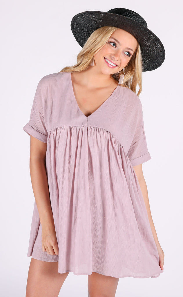 sunkissed babydoll dress - mauve
