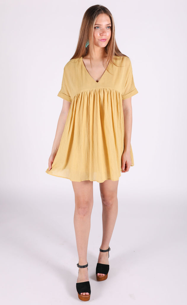 sunkissed babydoll dress - mustard