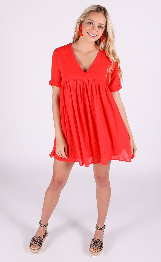 sunkissed babydoll dress - red