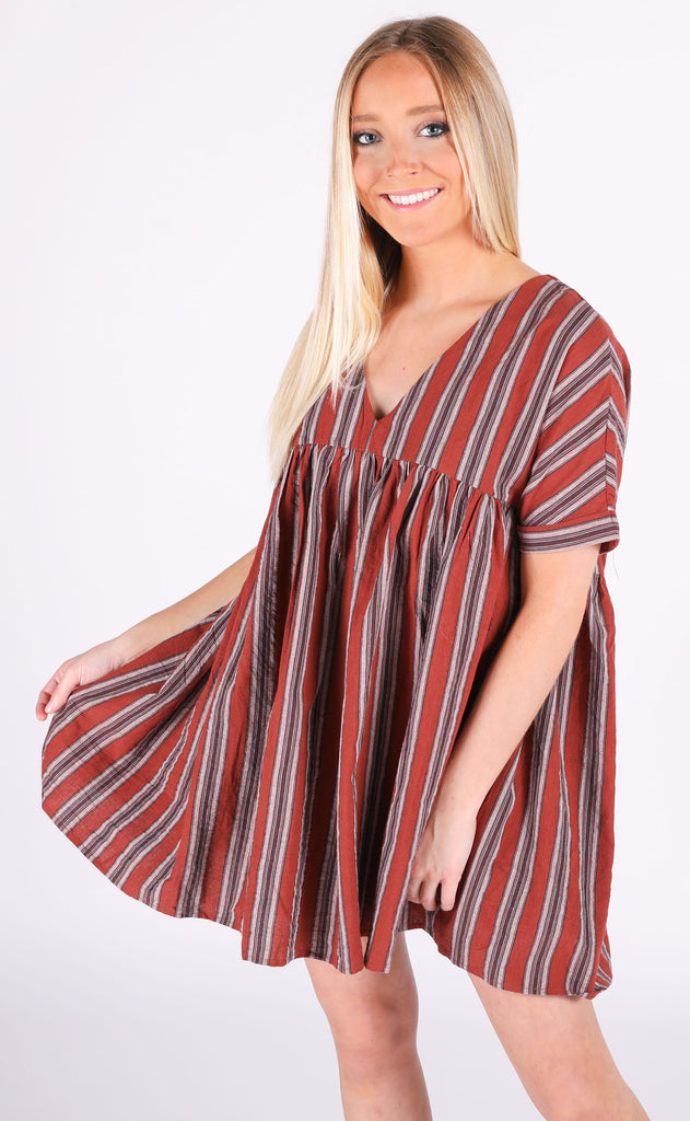 sunkissed babydoll dress - burgundy stripe