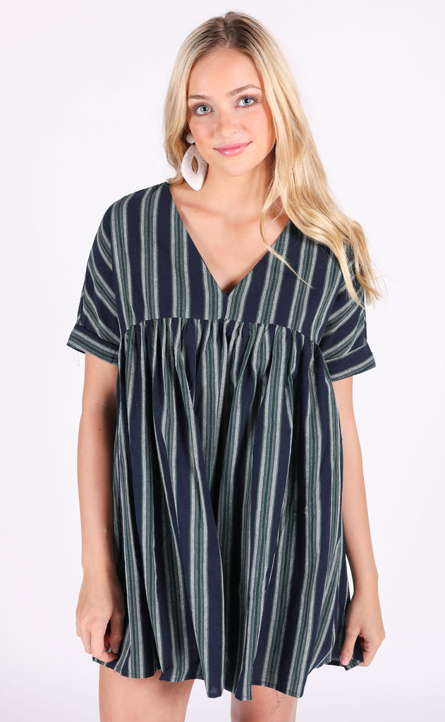 sunkissed babydoll dress - navy stripe