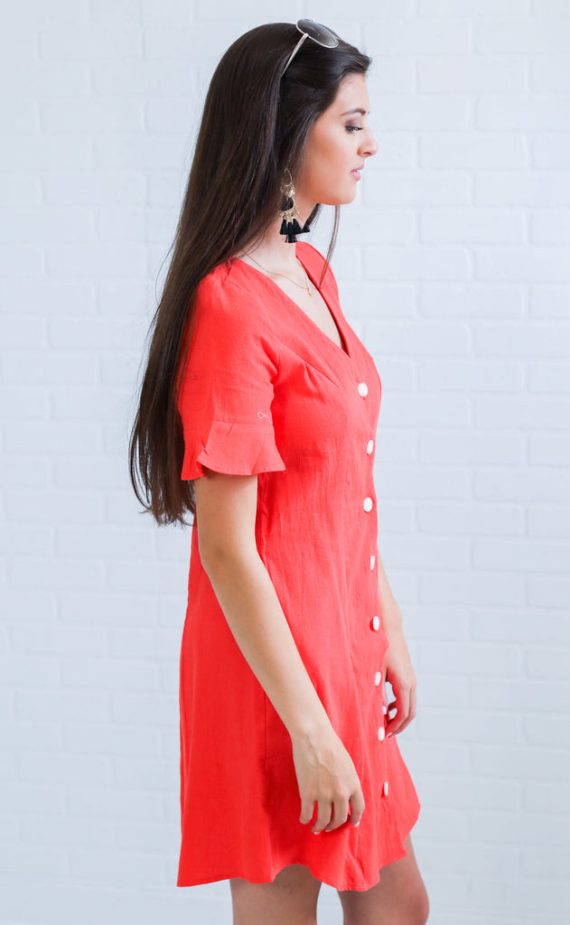 sunny stroll button up dress