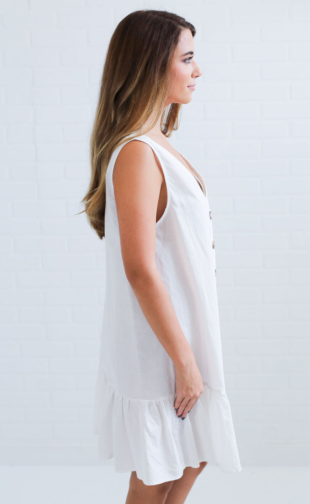 sunset love button up dress - ivory
