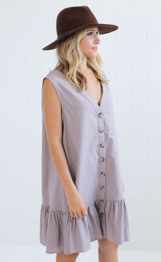 sunset love button up dress - lavender