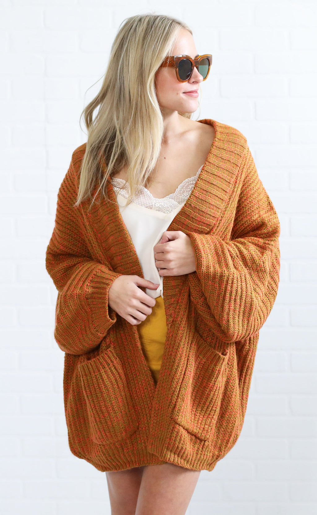 sunset ridge oversized cardigan - camel multi