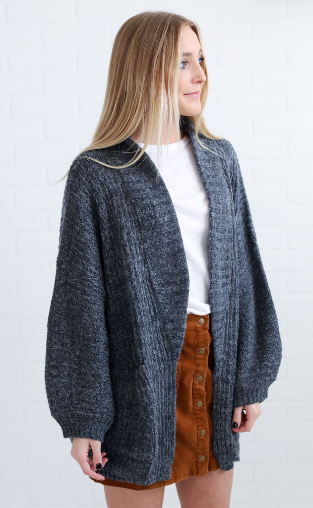 sunset ridge oversized cardigan - charcoal