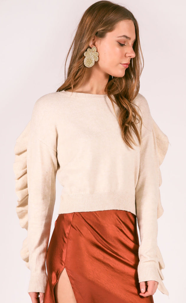 sunset road ruffle sweater - oatmeal