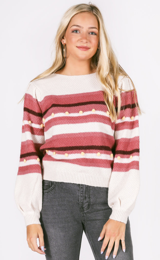 sunset view striped sweater
