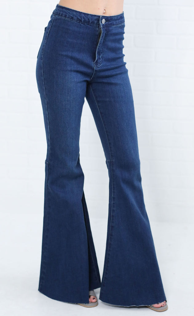 super flare high waisted jeans - dark blue