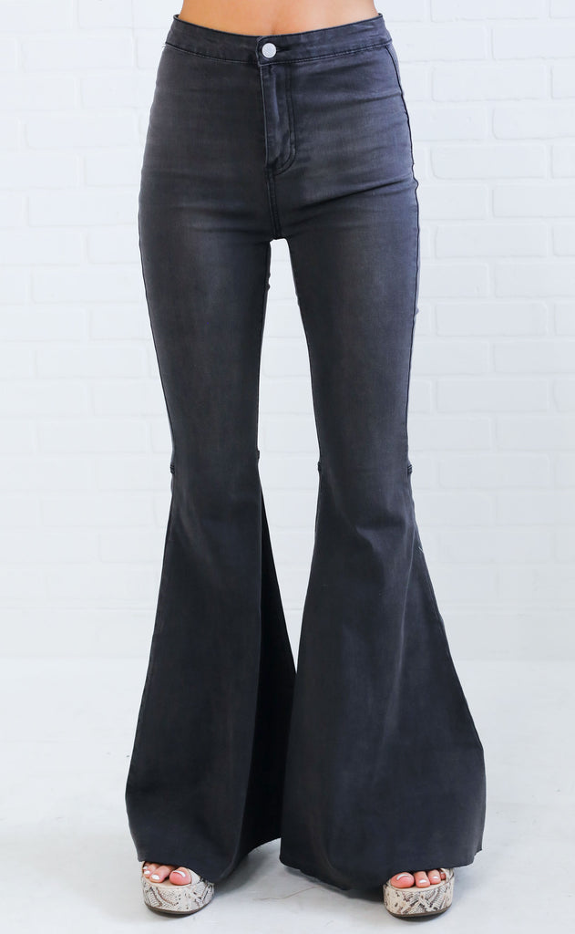 super flare high waisted jeans - charcoal