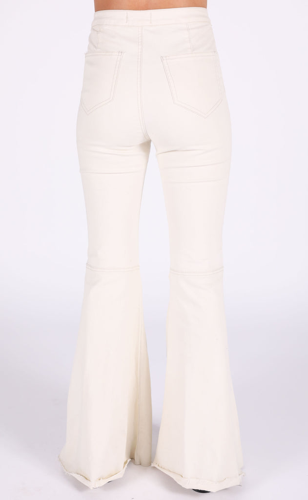 super flare high waisted jeans - ivory