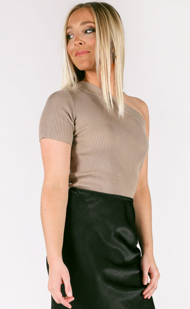 simple thing ribbed top - mocha
