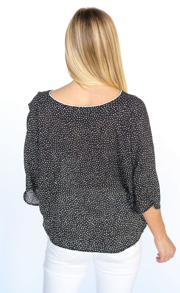 sweet dreams printed top - black