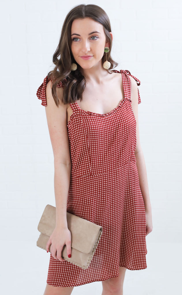 sweet lady gingham dress - red