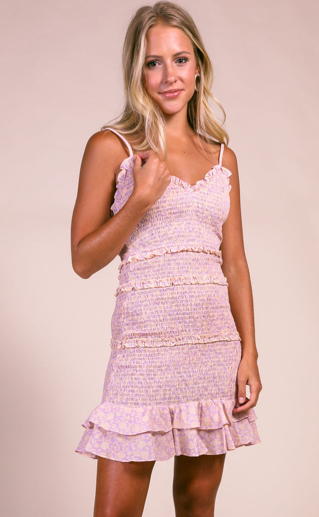 sweet tart ruffle dress - lavender/peach