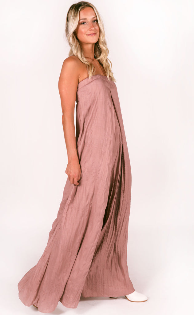 swept up strapless jumpsuit