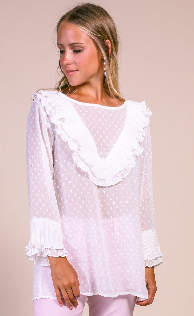 on the swiss dot ruffle blouse