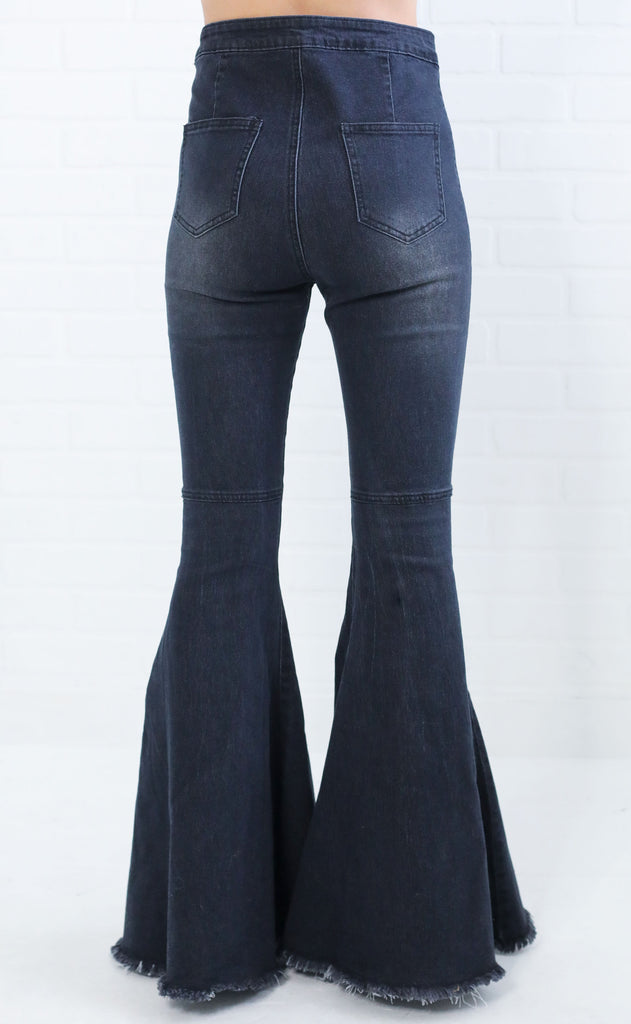 take me out flare jeans - charcoal