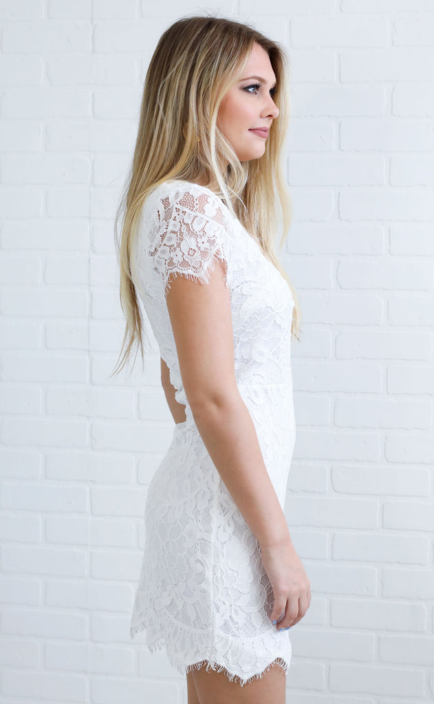 take me out lace dress - white