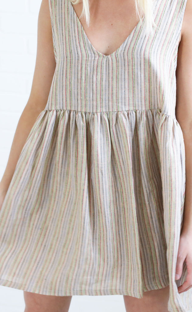 take me places striped dress - taupe multi stripe