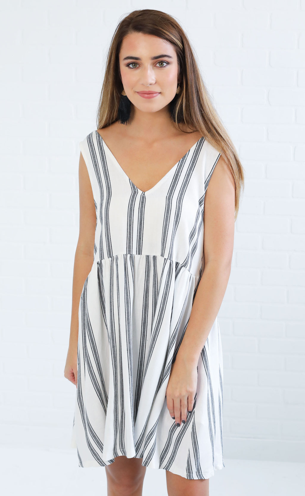 take me places striped dress - black stripe