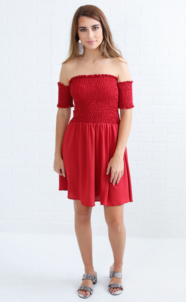 talk that smock ruched dress - burgundy