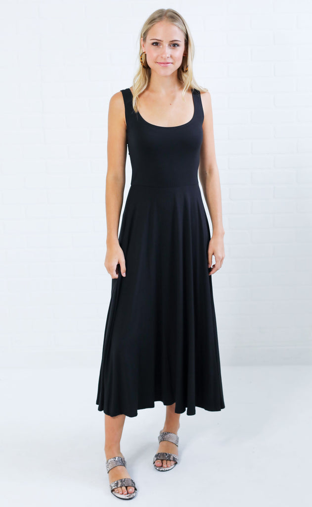 tank me later midi dress - black