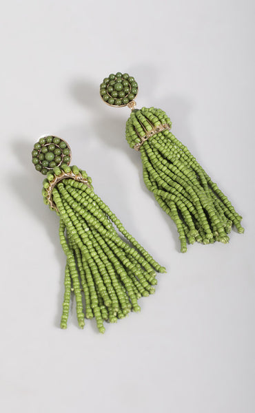 beaded tassel earring - green