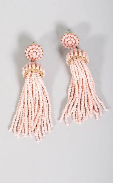 beaded tassel earring - pink