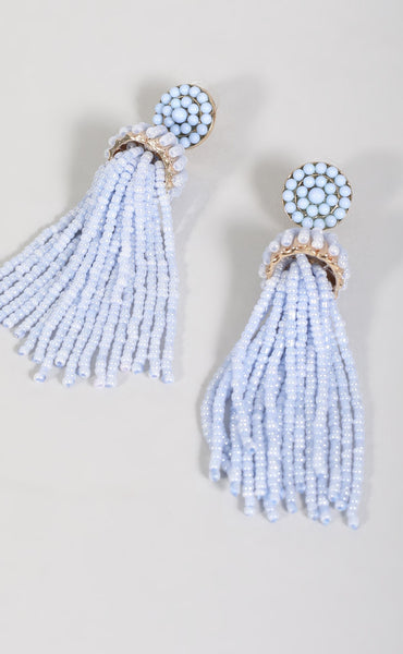 beaded tassel earring - periwinkle