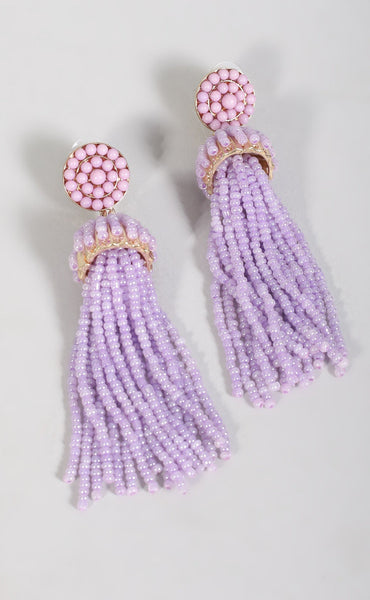 beaded tassel earring - lavender
